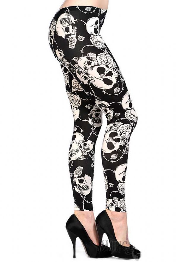 BANNED Ladies Gothic Skull Leggings - XS